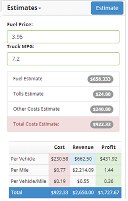 Accurate Job Cost Estimate to see how much this car hauler load will cost you